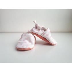 en stock : chaussons bébé 3 au 12 mois à pois rose