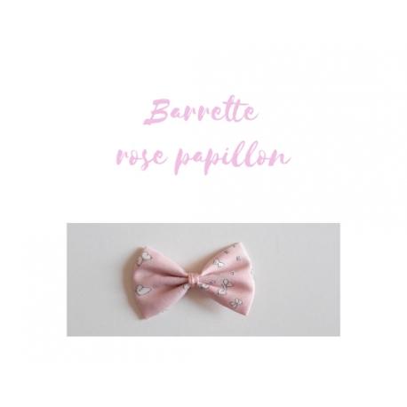 barrette rose papillon