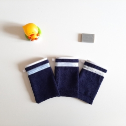 gant de toilette enfant bleu marine