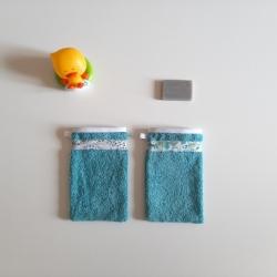 gant de toilette enfant turquoise
