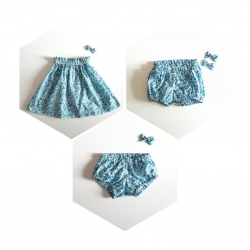 bloomer / jupe en liberty wiltshire bleu crystal