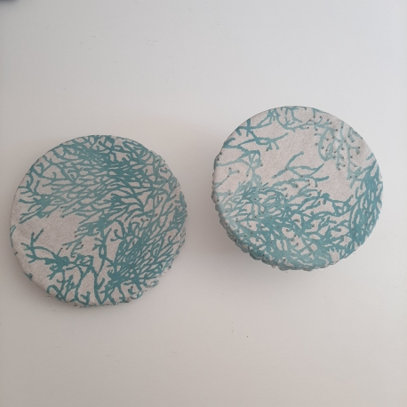 Charlotte à plat corail bleu turquoise