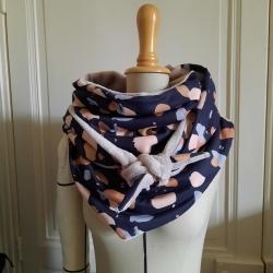 Grand foulard viscose granito night