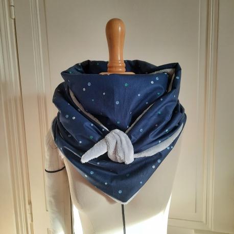 Grand foulard  coton bleu à pois